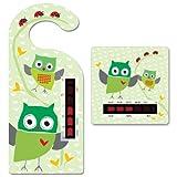 Thermometer-Set für Babys, Raumthermometer zum Aufhängen und Badewasserthermometer, Design Eule