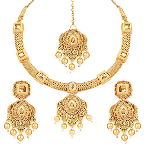 I Jewels M4107 Halsketten-Set mit Ohrringen und Maang Tikka, vergoldet, handgefertigt, traditionelles Polki-Schmuckset