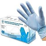 Guanti senza nitrile in polvere - Taglia M - Guanti monouso ambidestri riciclabili AQL 1.5. Ideale per uso alimentare, pulizia, bricolage, bellezza, industriale e sanitario. Colore blu
