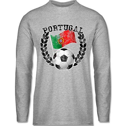 Shirtracer Fußball-WM 2018 - Russland - Portugal Flagge & Fußball Vintage - Herren Langarmshirt Grau Meliert