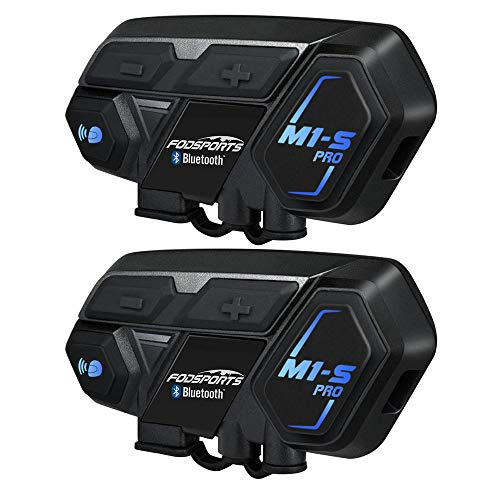 BT Intercom Headset Fodports auriculares bluetooth casco moto intercomunicador motorbike communication system (impermeable/manos libres/música estéreo/GPS/2 pack)