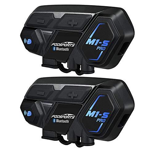 Fodsports Motorrad Helm Headset, M1S 2000m 8 Riders Motorrad Sprechanlage Bluetooth Motorrad Kommunikation (Wasserdicht/Stereo Music/GPS/2 Pack) - Fm Zwei-wege-radio