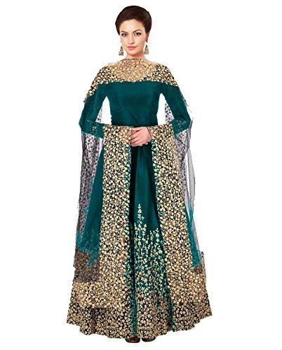 Mordenfab Firozi Women's Taffeta Silk Semi Stitched Party Wear Floor Length Anarkali...