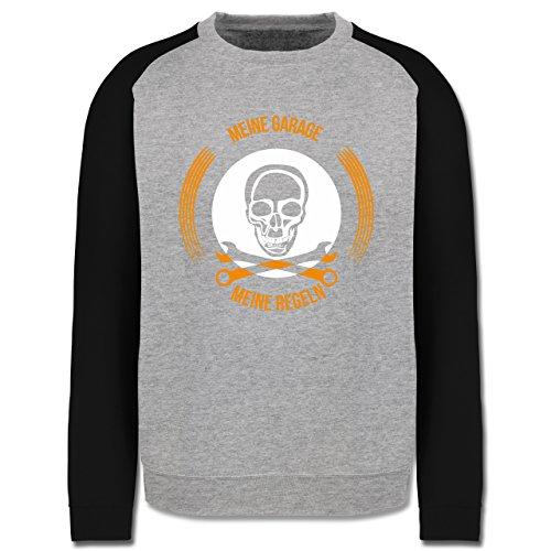 Statement Shirts - Meine Garage meine Regeln - Herren Baseball Pullover Grau Meliert/Schwarz