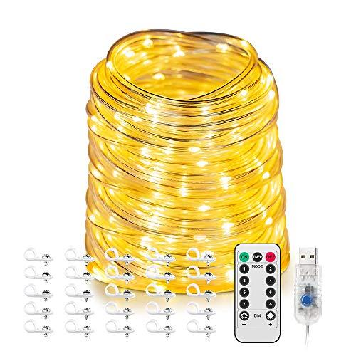 dystaval 20m LED-Lichtschlauch Lichterschlauch USB, IP65 Wasserdicht Warmweiß Dekolicht, für Außen Innen Weihnachten DIY Deko Hochzeit
