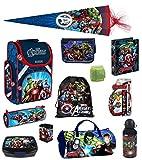 Familando Avengers Schulranzen PL 15tlg. Set mit Dose/Flasche Sporttasche Federmappe gefüllt Schultüte 85cm HULK THOR