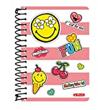 Herlitz Bloc à spirales, 200 pages à carreaux, 10 x 14 cm Smiley World Girly