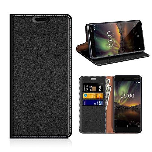 MOBESV Nokia 6 2018 Hülle Leder, Nokia 6.1 Tasche Lederhülle/Wallet Case/Ledertasche Handyhülle/Schutzhülle mit Kartenfach für Nokia 6 2018 / Nokia 6.1 - Schwarz