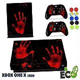 Xbox One X Skin Sticker, Morbuy Mode Persönlichkeit Stil Designfolie Vinyl-Folie Aufkleber für Konsole + 2 Controller Aufkleber Schutzfolie Set +10 pc Silikon Thumb Grips (Blut-Handabdrücke)