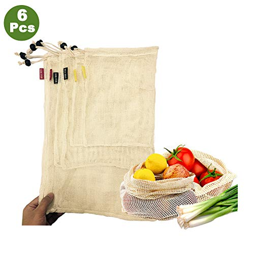 Woo Well Bolsas de vegetales reutilizables de algodón,bolsas de frutas y vegetales, bolsas de malla transpirables, hermosas bolsas de algodón natural,6 piezas - 2x S, 2x M, 2x L