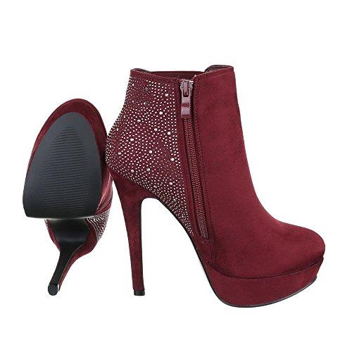 High Heel Stiefeletten Damenschuhe Schlupfstiefel Pfennig-/Stilettoabsatz High Heels Reißverschluss Ital-Design Stiefeletten Weinrot