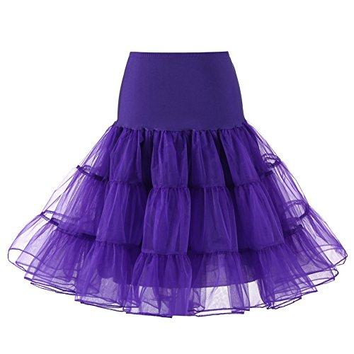 Comall Damen Rockabilly Knielänge Petticoat Unterrock Organza Tutu Rock Krinoline Für 80er Jahre Klied Regency XL Übergröße