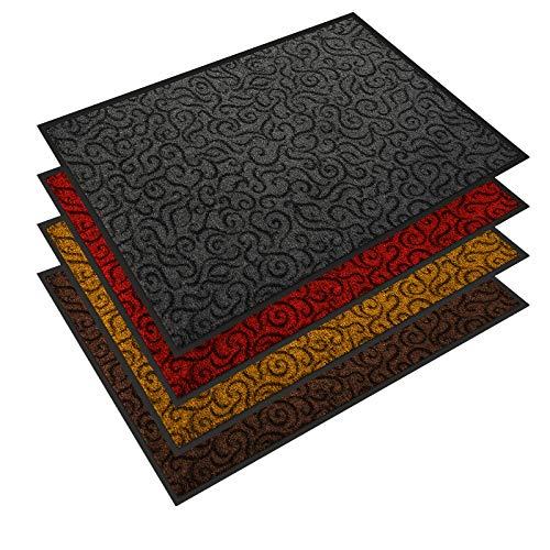 Design Schmutzfangmatte | mit Schnörkelmuster | für Eingangsbereich | Fußmatte in vielen Größen und Farben | grau 40x60 cm