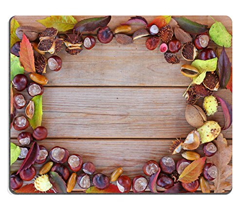 Liili Mauspad Naturkautschuk Mousepad Bild-ID 33485014Herbst Rahmen mit Kastanien Blättern und Zapfen (Kastanien-blatt)