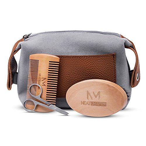 Kit coffret d'entretien de Barbe, Ensemble comprenant: Brosse à barbe en soies 100% sanglier - peigne double action, dents fines et épaisses | Ciseaux en acier inoxydable | Sac de toilette en toile | Cadeau parfait pour les hommes barbus