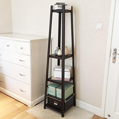 Meiduo Regal Ablage Holz Boden auf 38x 38x 160cm sehr langlebig schwarz Schwarz Bücherregal Nachttisch
