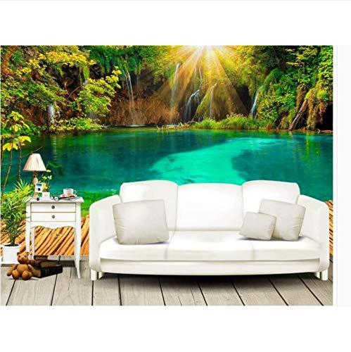 3D Wall Wallpaper Ursprüngliche Schöne 3D Sunshine Lake Stand Greenwood Tv Hintergrund Wand 320X220Cm Greenwood Wallpaper