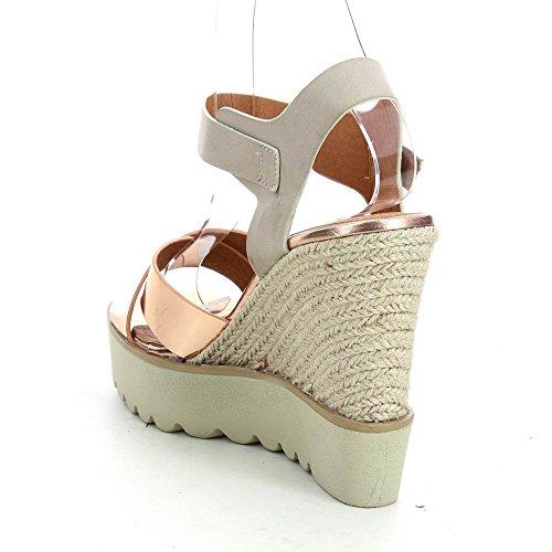 Sandales compensées métallisé Beige