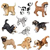 HOMNIVE Realistic Animal Figure - 10pcs Cute Puppy Figurines - Hand Painted Emulational Dog Figurines Toy Set,Bona Puppy, Golden Retriever, Dalmatian Puppy for Kids Toddlers