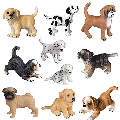 FLORMOON 10 PCS Figura Animale realistica Carina Figurine di Cuccioli Insieme del Giocattolo delle Figurine del Cane di Emulational Dipinto a Mano Bona Puppy Golden Retriever Cucciolo Dalmata Bambini