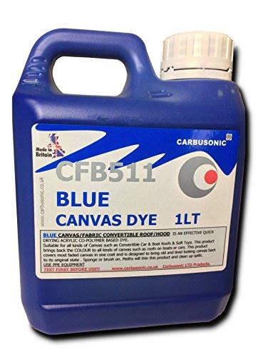 Carbusonic Convertible roof dye soft top hood canvas restorer, Blue 1 Litre