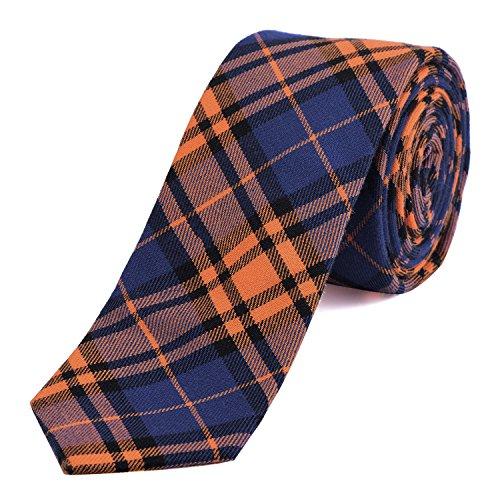 DonDon Herren Krawatte 6 cm kariert gestreift orange-blau