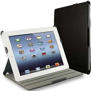 EasyAcc® PU Leder Tasche Smart Cover für Apple iPad 4 /the New iPad 3 Case mit Multi Ständer Auto Sleep Wake up Funktion (PU Leder, Schwarz)