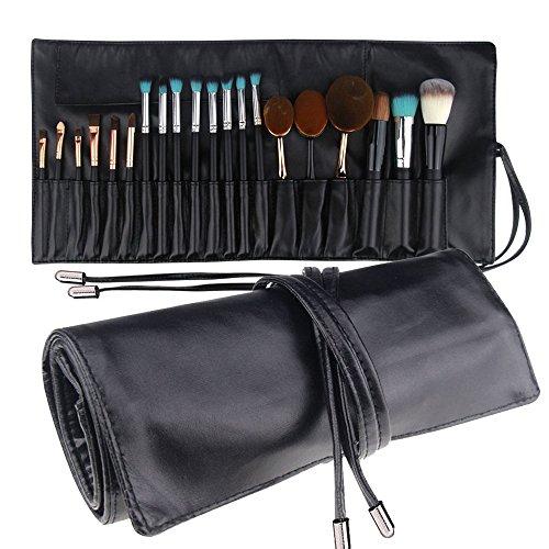 MLMSY Bolsa de maquillaje para pinceles de maquillaje Rolling Bag Brush Holder Organizer Cosmetic Bag Travel Portátil 18 bolsillos Funda de cuero (Negro 1)