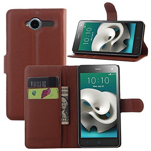 ZTE Blade L3 Handyhülle Book Case ZTE Blade L3 Hülle Klapphülle Tasche im Retro Wallet Design mit Praktischer Aufstellfunktion - Etui Braun