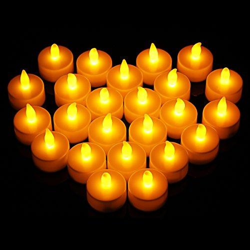 24x LED Teelichter Flammenlose Kerzen, OMorc Flackernd Batteriebetriebene LED Teelichtern Tealight Candles mit Flackereffekt und Brenndauer 100 Stunden für Weihnachtsbaum, Weihnachtsdeko, Hochzeit, Geburtstags, Party