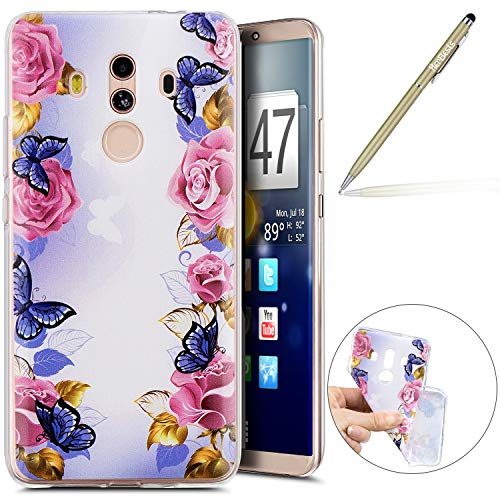 Kompatibel mit Handy Tasche Huawei Mate 10 Pro Silikon Hülle Durchsichtige Schutzhülle Crystal Clear Transparent Ultra Dünn Handyhülle Silikonhülle Kristall Klar TPU Bumper,Schmetterling Rose Blumen