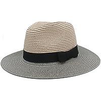 TX- Mujeres Clásicas Verano Toquilla Sombrero De Paja De Sombrero para  Señora Elegante Sombrero De 6ce37eb14f0