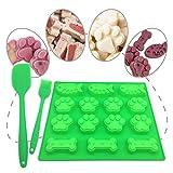 Silikonform Set mit Backpinsel und Teigschaber aus Silikon mit Rezept Tabelle für Haustiere mit Hunde Welpe Pfoten, Fisch und Knochen, 100% Lebensmittelqualität Silikon ohne BPA Backform