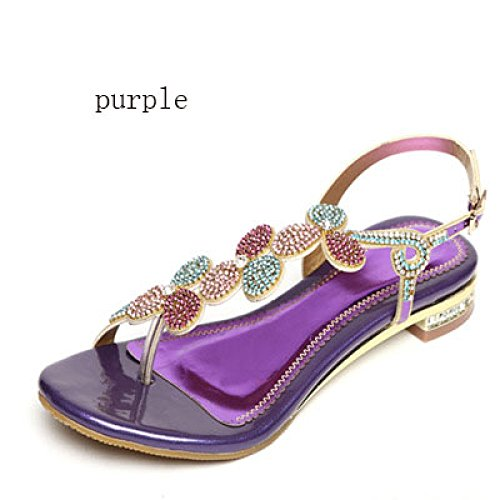 7dc9a6d41139 SBL Rhinestone sandals female summer flat with leather sandals and slippers  flat bottom toe flip flops low with flowers women s shoes
