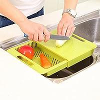 Jern à découper Planche à découper avec tiroir style Panier à linge multifonctions Cuisine (Vert)