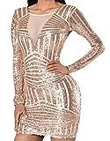 erdbeerloft - Damen Mini Pailletten Kleid mit tiefem Rückenausschnitt, Gold, Größe XS