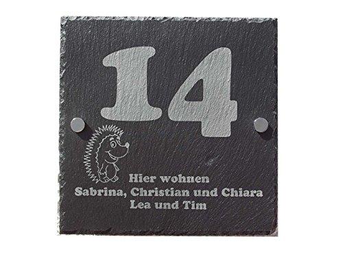 Hausschild Haustürschild für Familien Hausnummer aus Schiefer incl. individueller Gravur und Halterung 25 x 25 cm (Versiegelt-bereich Edelstahl)