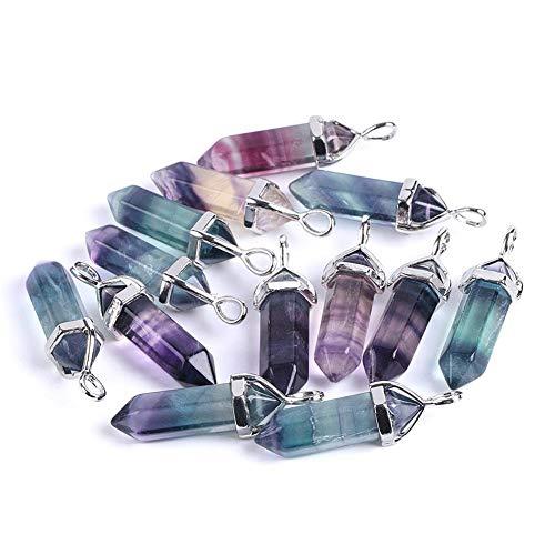 nhänger Halskette - natürliche Edelstein Quarz Kugel Sechseck Punkt Pendel Säule Reiki Chakra Schmuck,1PcsColorfulNecklace ()