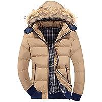 LaoZan Uomo Inverno Moda Giacca con cappuccio Slim Fit Cappotto invernale Parka XL Khaki