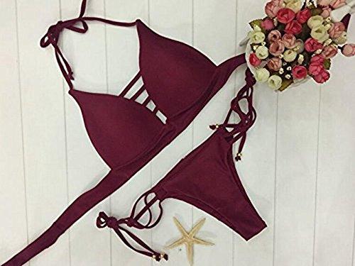 YOUJIA Damen Push-up Gepolstert Neckholder Bikini-Sets BH Bandage Design Bademode Beachwear Badeanzug Weinrot