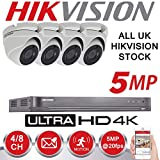 HIKVISION 5MP CCTV SECURITY SYSTEM 4K DVR 4CH 1TB H.265+ HIK 5 MP
