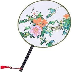 Da.Wa Chinesische Stil Klassische Palast Tanz Fan Alte Hand Fan Runde doppelseitige Fan 24x36CM