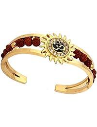 MEENAZ Rudraksh American Diamond 18K Gold Plated Meena Om Sun Cuff Bracelet for Men(Gold) - Bracelet-102