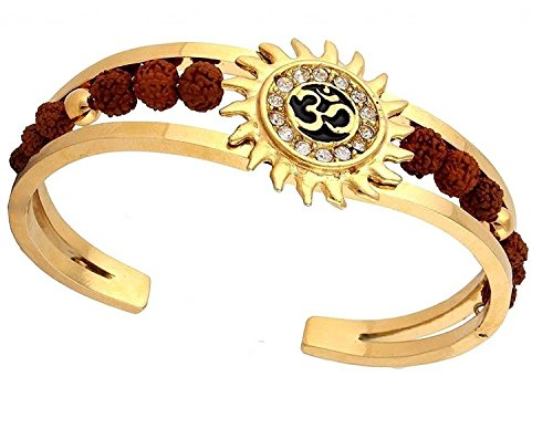 Meenaz Rudraksh American Diamond Gold Meena Om Sun Cuff Kada Bracelet for...