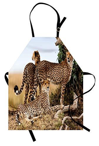ABAKUHAUS Afrika Kochschürze, Gepard-Mutter und Zwei junges Baby, die nach Lebensmittel-gefährlichen exotischen Tieren suchen, Farbfest Höhenverstellbar Waschbar Klarer Digitaldruck, Schwarz Tan