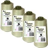4 Stück Spulen Overlock - Nähgarn, hell - grau, a. 2500 m, Nr. 120/2, 100% Polyester, Nähfaden, Nähmaschinen Garn, 3004-4er