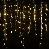 LED-Vorhänge, 96 LEDs, Warmweiß, für Innen- und Außenbereich, 8 Lichteffekte, erweiterbar