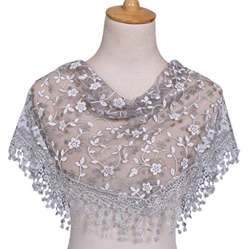 Xuniu sciarpa a triangolo, sciarpa lunga in pizzo da donna scollo a cuore con nappe scialli a triangolo disegno floreale grigio
