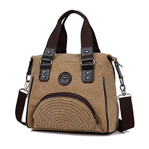 Lässige Canvas Tasche von HeHe - Damentasche , Shopper , Umhängetasche , Vintage Handtasche , Schultertasche - Baumwollstoff Segelstoff Dunkles Khaki