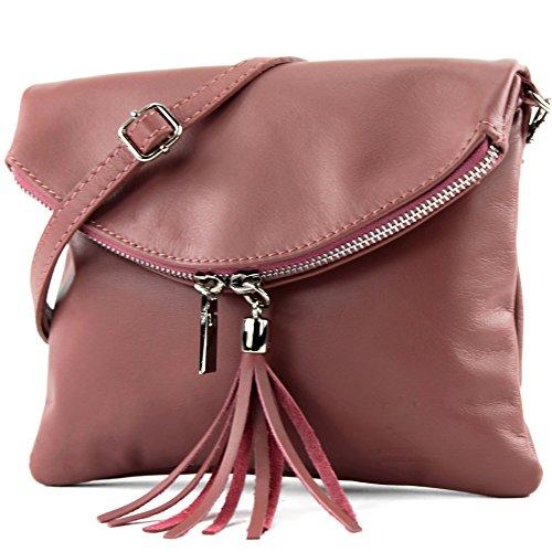 modamoda de - ital. Ledertasche Clutch Umhängetasche Unterarmtasche Klein Nappaleder T139, Präzise Farbe:T139 Pink